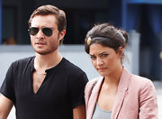 Ed leaves lunch with Jessica wearing these gold rimmed classic Ray-Ban aviators.