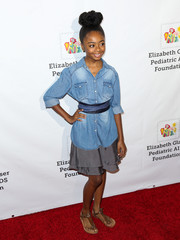Skai Jackson kept it casual in a denim button-down at the Time for Heroes Family Festival.