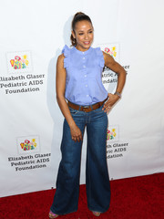 Dania Ramirez kept it youthful in a pastel-blue blouse with ruffled shoulders during the Time for Heroes Family Festival.