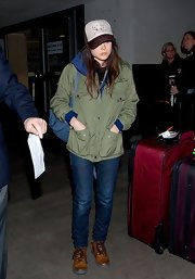 Ellen Page sported her signature tomboy look with this green utility jacket.
