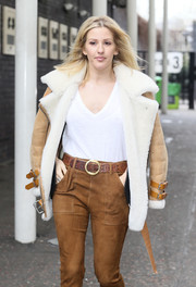 Ellie Goulding stepped out of the ITV Studios looking toasty in a beige and white suede jacket.