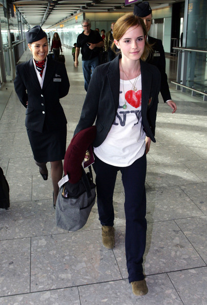 Emma Watson arrives to Heathrow airport wearing an I love NY shirt