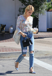 Emma Roberts was breezy and boho in a ruched print blouse by Topshop while out and about in LA.