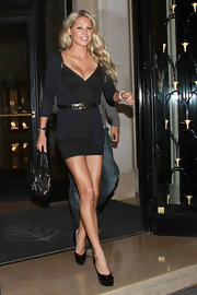Anna Kournikova stepped out in a sexy black mini dress in Paris.