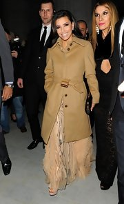 Eva Longoria bundled up after the Noble Gift Gala in this wool camel coat.