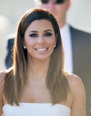 Eva Longoria appeared on 'Jimmy Kimmel Live!' wearing her hair in sleek straight layers.