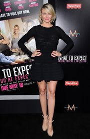 Cameron donned this sheer mini black dress at the 'What to Expect When You're Expecting' premiere.