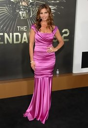 Charisma's hot pink dress had shine-illuminating ruching and a sultry off-the-shoulder design.