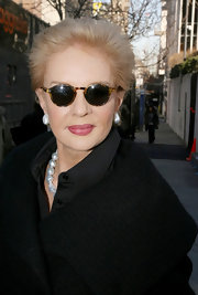 Carolina Herrera accessorized with a pair of round sunnies during Fashion Week.