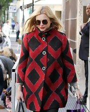 Fearne Cotton braved the crisp autumn chill in a bold geometric-pattern coat.