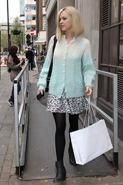 Fearne Cotton left Radio 1 studios in London wearing a casual pair of black heeled ankle boots.