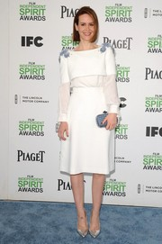 Sarah Paulson went for some shimmer with a pair of silver Rupert Sanderson pumps.