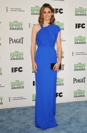 Stana Katic looked svelte and elegant at the Film Independent Spirit Awards in an electric-blue Yigal Azrouel gown with an asymmetrical neckline.
