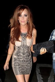 Maria Fowler's clubbing attire consisted of a sexy bandage dress and a stylish beaded black clutch.
