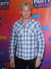 Gordon attended the Fox All-Star party wearing basic black pants and a plaid, blue button down shirt.