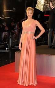 Adrianne Palicki chose an elegant '30s-style silk satin gown with a Swarovski crystal and bead embroidered belt.