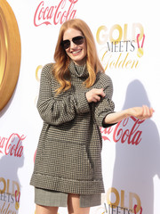 Jessica Chastain arrived for the Gold Meets Golden event wearing a pair of classic aviators.