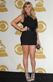 Grace Potter stepped out at the Grammy Nominations Concert in a little black dress with a leather belt.