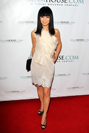 Bai Ling accessorized her red carpet ensemble embellished peep-toe pumps.