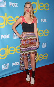 Heather Morris got eclectic with her outfit wearing this print fishtail skirt at the 'Glee' Academy Screening.