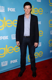 Cory Monteith tossed on a pair of classic dark jeans with his blazer at the 'Glee' Academy Screening.