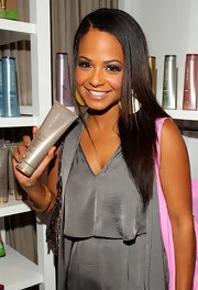 Christina Milian styled her hair in a sleek side part for the Mother's Day celebration.