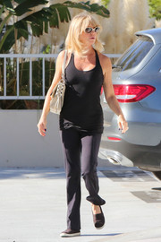 Goldie Hawn was spotted out in LA wearing simple black slacks and a matching tank top.