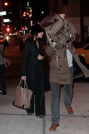 Eva Mendes kept a low-profile in NYC, accessorizing her all black outfit with a taupe leather tote.