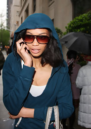 Chanel sported a pair of brown tortuous shell sunglasses while out in NYC.
