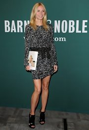 Gwyneth Paltrow looked fresh and carefree as ever when she sported this youthful black-and-white patterned mini dress.