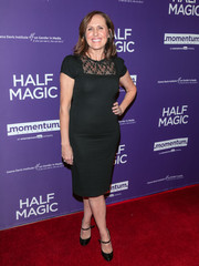 Molly Shannon stayed classic in a little black dress with a lace neckline at the premiere of 'Half Magic.'