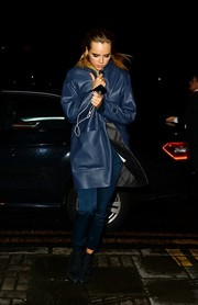 Suki Waterhouse battled the chill in style with a blue leather coat as she arrived for the BAFTA nominee dinner.