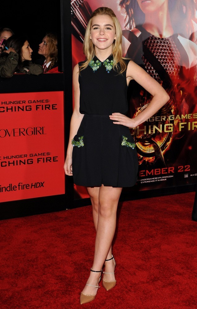 Red carpet arrivals at 'The Hunger Games: Catching Fire' premiere in Los Angeles at the Nokia Theatre on November 18, 2013. Pictured: Kiernan Shipka.