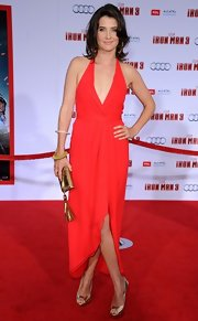 Cobie Smulders rocked a plunging halter dress with a high-low hem for her red carpet look at the 'Iron Man 3' premiere.