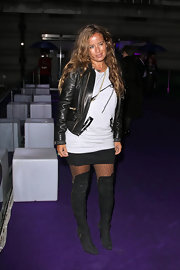 Jade Jagger topped off her sexy and edgy look with this amazing leather jacket.