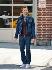 Jason paired a denim jacket over a burgundy hoodie for his look while posing for a photo shoot in NYC.