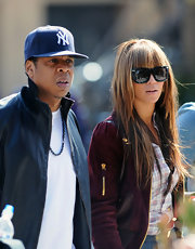 Jay-Z shows his support for the Yankees while out to lunch.