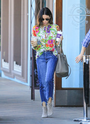 Jenna Dewan-Tatum channeled spring in a colorful floral blouse by Balenciaga while grabbing coffee.