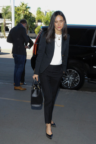 Jennifer Connelly styled her look with a pair of studded black pumps.