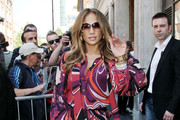 Jennifer Lopez Channels the 70s in a Psychedelic Print Dress