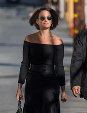 Jenny Slate teamed an oversized black belt with her skirt and top for her visit to 'Kimmel.'