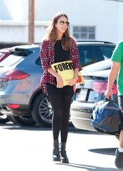 Jessica Alba looked punky in a red Rails button-down layered over a black shirt while out on a stroll.