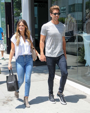 JoJo Fletcher went shopping in Beverly Hills looking casual-chic in a white wrap top.