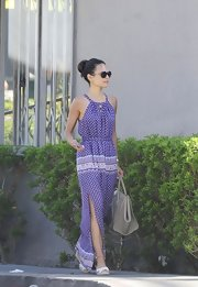 Jordana Brewster looked ready for summertime fun when she wore this purple patterned maxi dress.