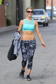 Julianne Hough showed off her crazy abs in a turquoise sports bra by MPG while leaving the gym.