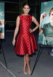 Kate Walsh went for vintage cuteness in a red polka-dot cocktail dress at the LA screening of 'Just Before I Go.'