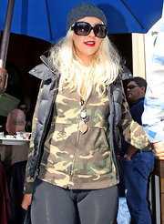 Christina Aguilera dined out wearing a pair of oversize black sunglasses.