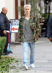 Justin Bieber went edgy in a camo jacket for a day out in Beverly Hills.