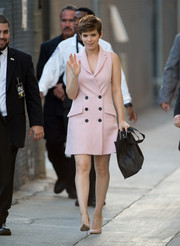 Kate Mara looked darling in a pink Marissa Webb vest dress while headed to 'Jimmy Kimmel Live!'