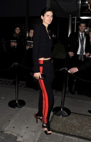Stella Tennant was sporty-chic in her black and red pants at the Playboy 60th anniversary issue party.